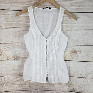 Express | White Button Down Vest
